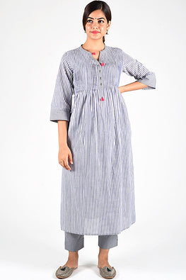 Dharan 'Grey Trim Woven Kurta' Grey Stripe Pintuck Kurta