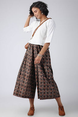 Dharan 'Tile Culotte' Brown Block Printed Culotte