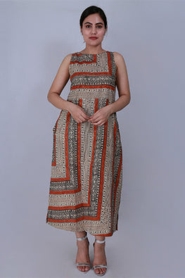 Dharan 'Bagru Border Dress' Beige Printed Sleeveless Dress