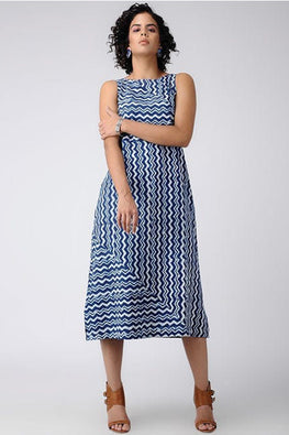 Dharan Dabu 'Zig-zag Print Dress' Indigo Block Printed Dress