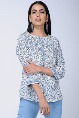 Dharan 'Magz Top' Blue Block Printed Top