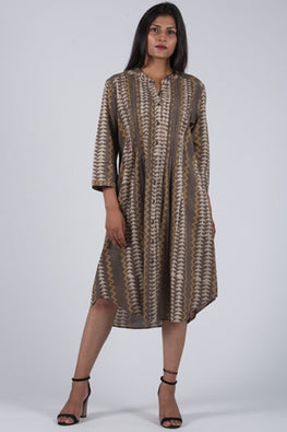 Dharan 'Mud Mustard Pintuck Tunic' Brown Block Printed Tunic