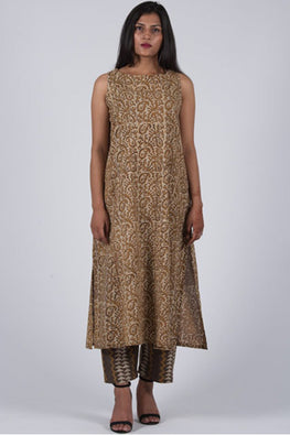 Dharan 'Mud Mustard Slash Tunic' Brown Block Printed Tunic