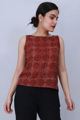 Dharan ' Crop Top' Red Ajarak Printed Top