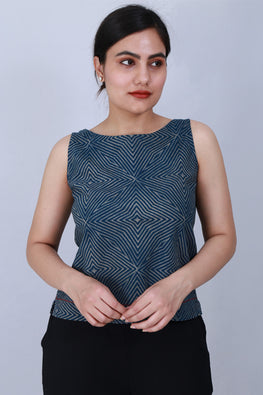 Dharan 'Crop Top' Indigo Block Printed Top