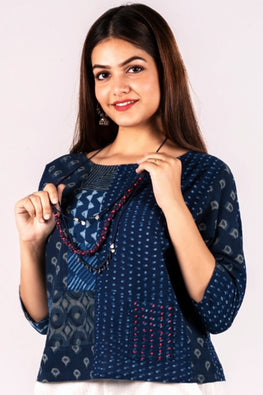 Dharan Neel Patch Work Indigo Block Printed Top For Women Online