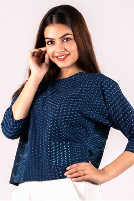 Dharan 'Neel Patch Work Top' Indigo Block Printed Top-1