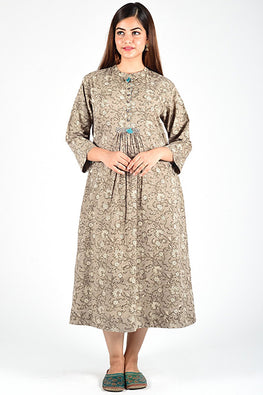 Dharan 'Dabu Kashish Dress' Grey Block Printed Dress