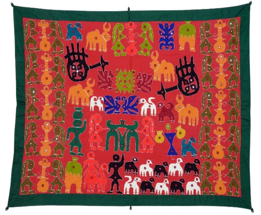 Okhai Maroon Village Themed Wall Hanging