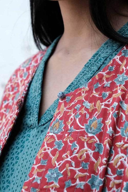 "Dharan ""Red Round Neck Jacket""Red-Blue Block Print Quilted Jacket"