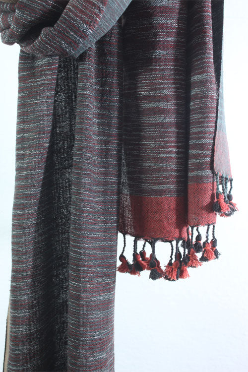 Khadi organic cotton Natural dyed stole-2-shaft weave-style 1003