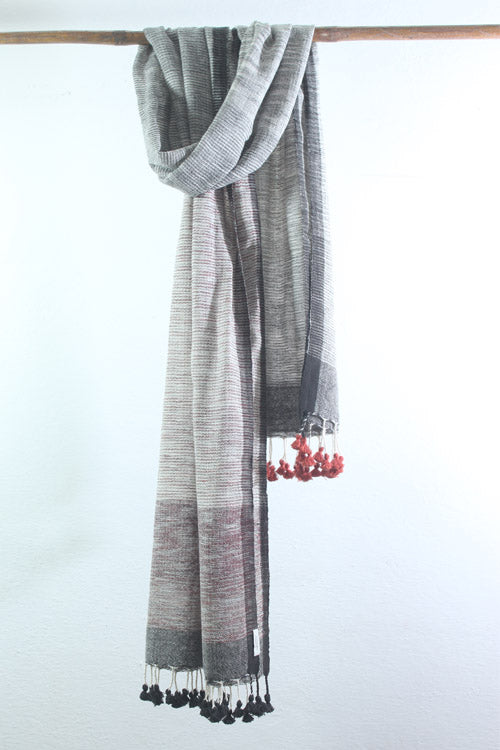 Khadi organic cotton Natural dyed stole-2-shaft weave-style 1004