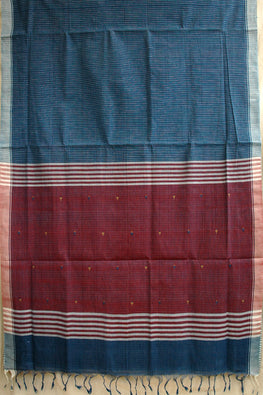 Okhai Handspun Handloom Natural Dyed Body Check And Pallu Indigo Kora Jamdhani Saree Online