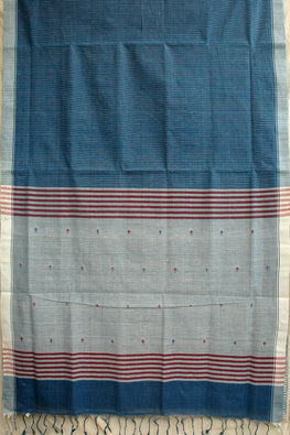 Okhai Handspun Handloom Natural Dyed Body Check And Pallu Indigo Jamdhani Saree Online