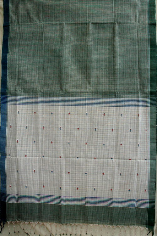 Handloom Handspun Natural Dyed Body Check & Pallu Jamdhani Sari
