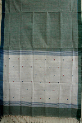 Okhai Handspun Handloom Natural Dyed Body Check And Pallu Green Jamdhani Saree Online