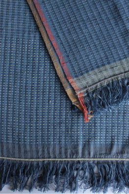 Checkered Blue and Grey Khadi Dupatta