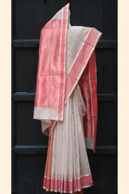 Tussar & Coral Silk by Cotton Maheshwari Sari