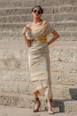 Pale Grey & Yellow Pure Silk Sari
