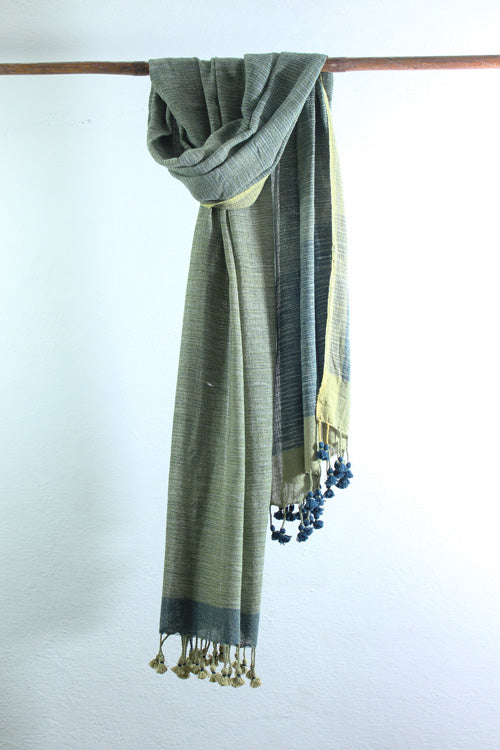 Khadi organic cotton Natural dyed stole-2-shaft weave-style 1081