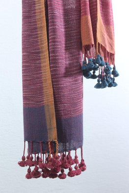 Handwoven Cotton organic cotton Natural dyed stole-2-shaft weave-style 1083