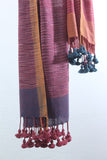 Khadi organic cotton Natural dyed stole-2-shaft weave-style 1083