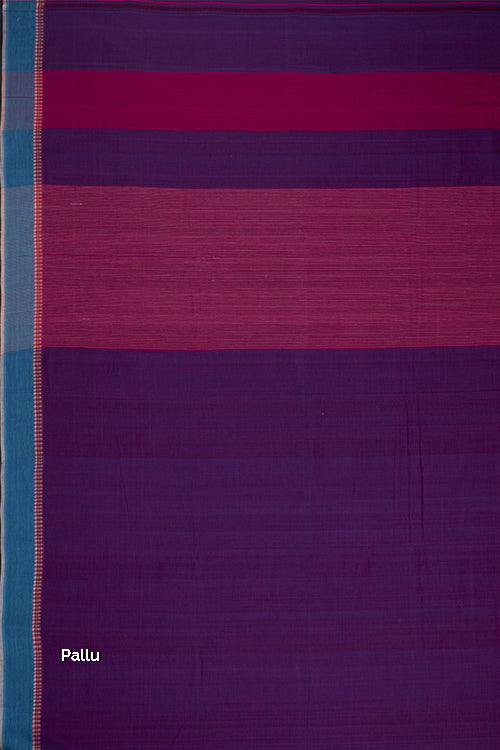 3 Diamond Dobby Cotton Handloom Saree – Purple