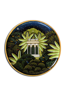 "Trovecraft 10"" Handpainted Pichwai Mandir In Forest Décor Plate"