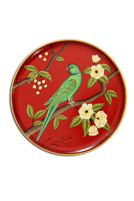 "Trovecraft 10"" Handpainted Pichwai Red Parrot Décor Plate"