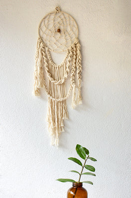 Elegant Navajo Off White Handcrafted Macrame Dream Catcher Online