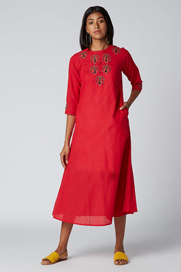 Okhai 'Strength' Embroidered Cotton Dress