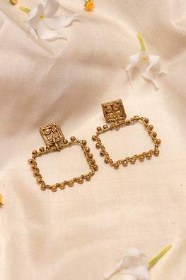 Handmade Gold Tone Box Brass Earrings Online