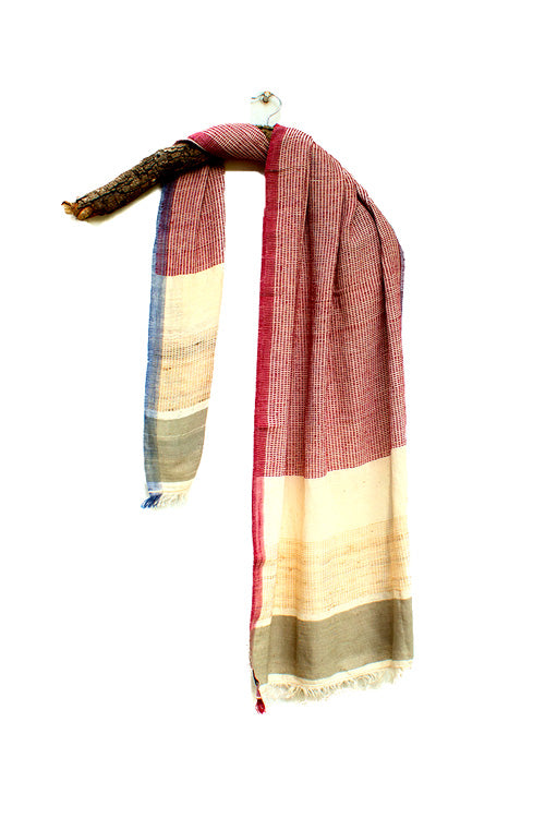 Khadi cotton Azo free dyed stole-2-shaft weave-style 120