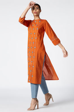 Okhai 'Sunrise' Embroidered Cotton Kurta