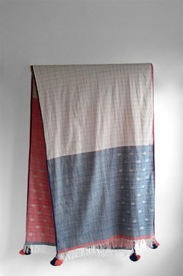 Fine Handwoven Cotton stole-2-shaft weave with motifs-1