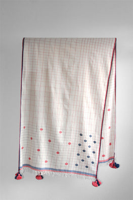 Fine Khadi stole-2-shaft weave with motifs