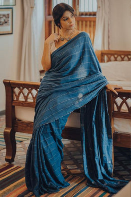 Blue Handwoven Cotton sari with Silver Square Buti
