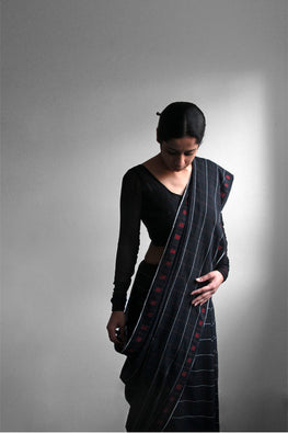 Black Khadi sari with Red Square Buti