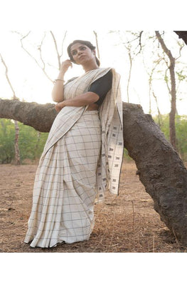 Ivory Handwoven Cotton sari with black square Buti