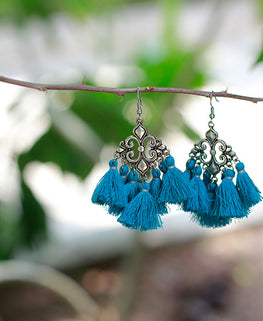 Okhai 'Gypsy' Handmade Blue Tassel Earrings