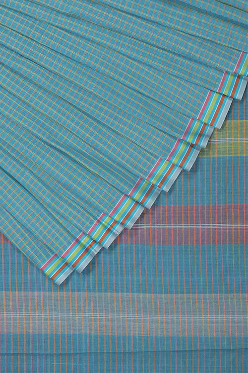 Magic Checks Cotton Handloom saree – Light Blue