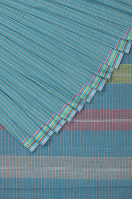 Magic Checks Cotton Handloom saree – Blue