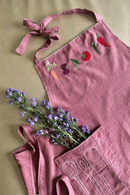 Okhai 'Cherry' Hand Embroidered Pure Cotton Women's Apron