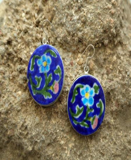 Indigo Fleur Ceramic Earrings
