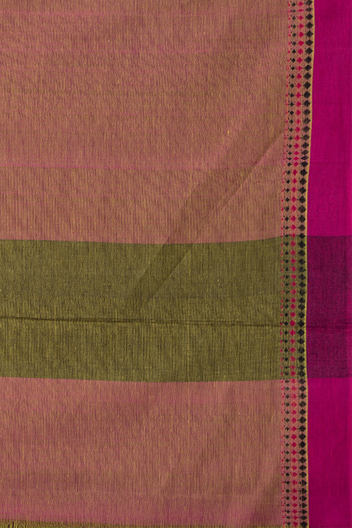 3 Diamond Dobby Cotton Handloom Saree – Yellow
