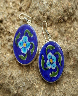 Indigo Bloom Ceramic Earrings