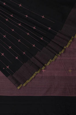 Diamond kada Cotton and Handspun Handloom Saree – Black