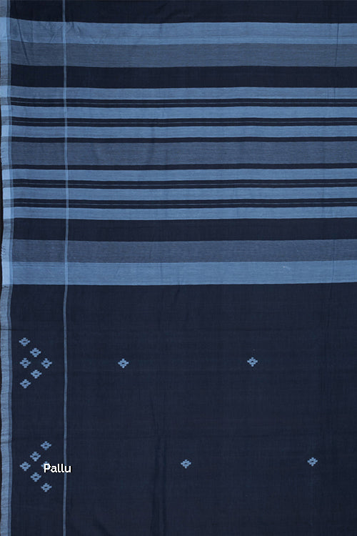 Hand-spun Pixel Flower Cotton Handloom Saree – Blue