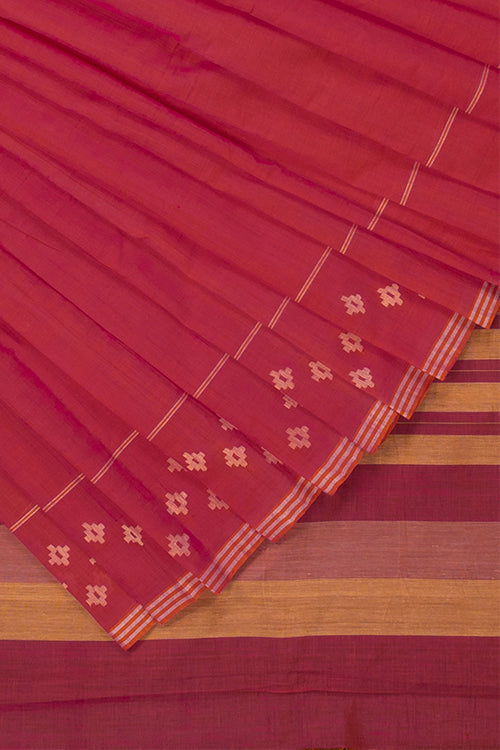 Buy Okhai Handspun Pixel Flower Pink Handlloom Cotton Saree Online