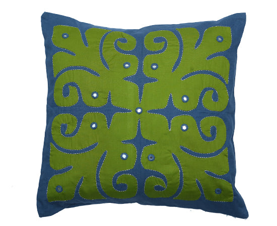 """Okhai Green Appliqued Cushion Cover"""